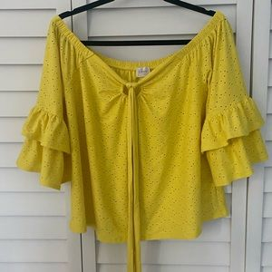 Cupid yellow ruffle sleeve off the shoulder top